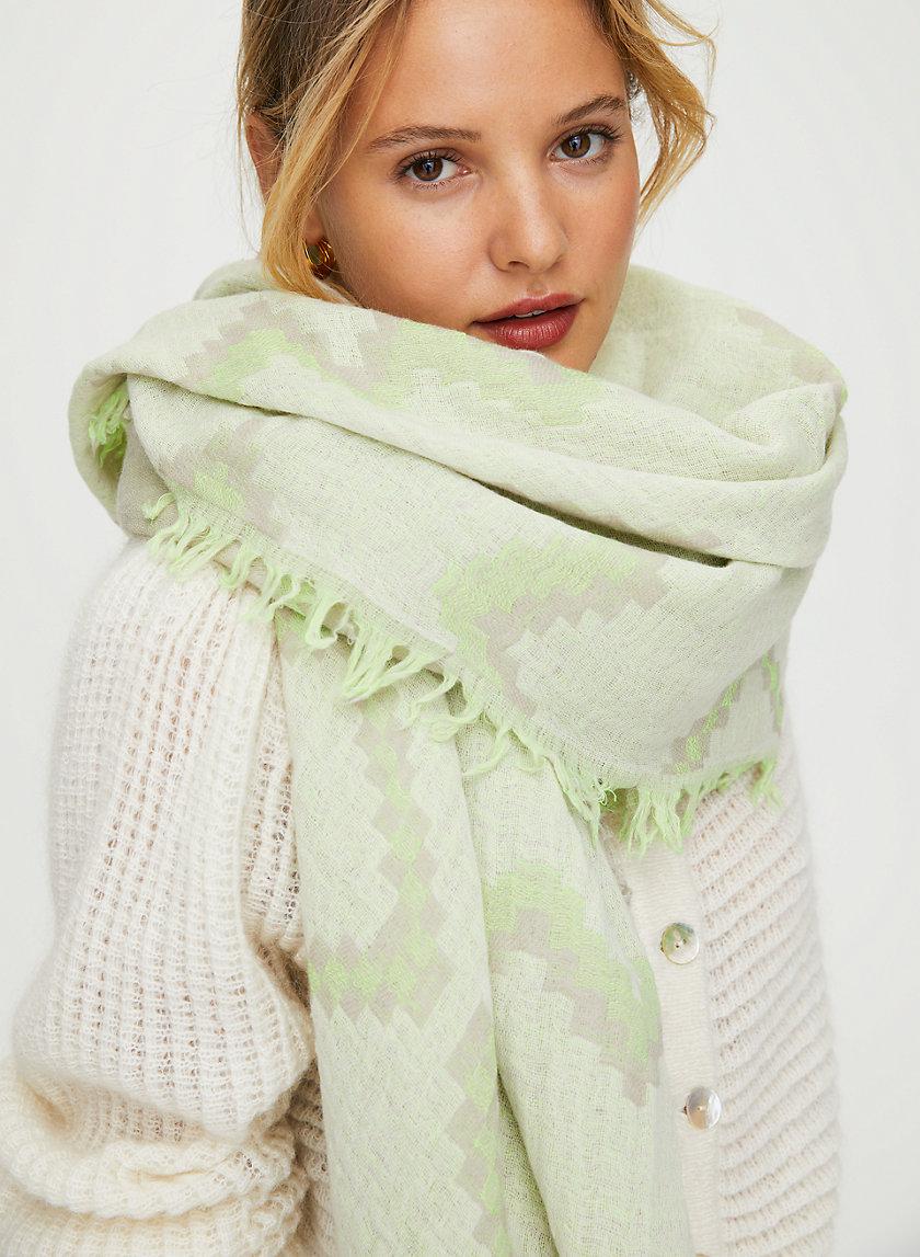 DIAMOND MOSAIC BLANKET SCARF - Patterned wool blanket scarf