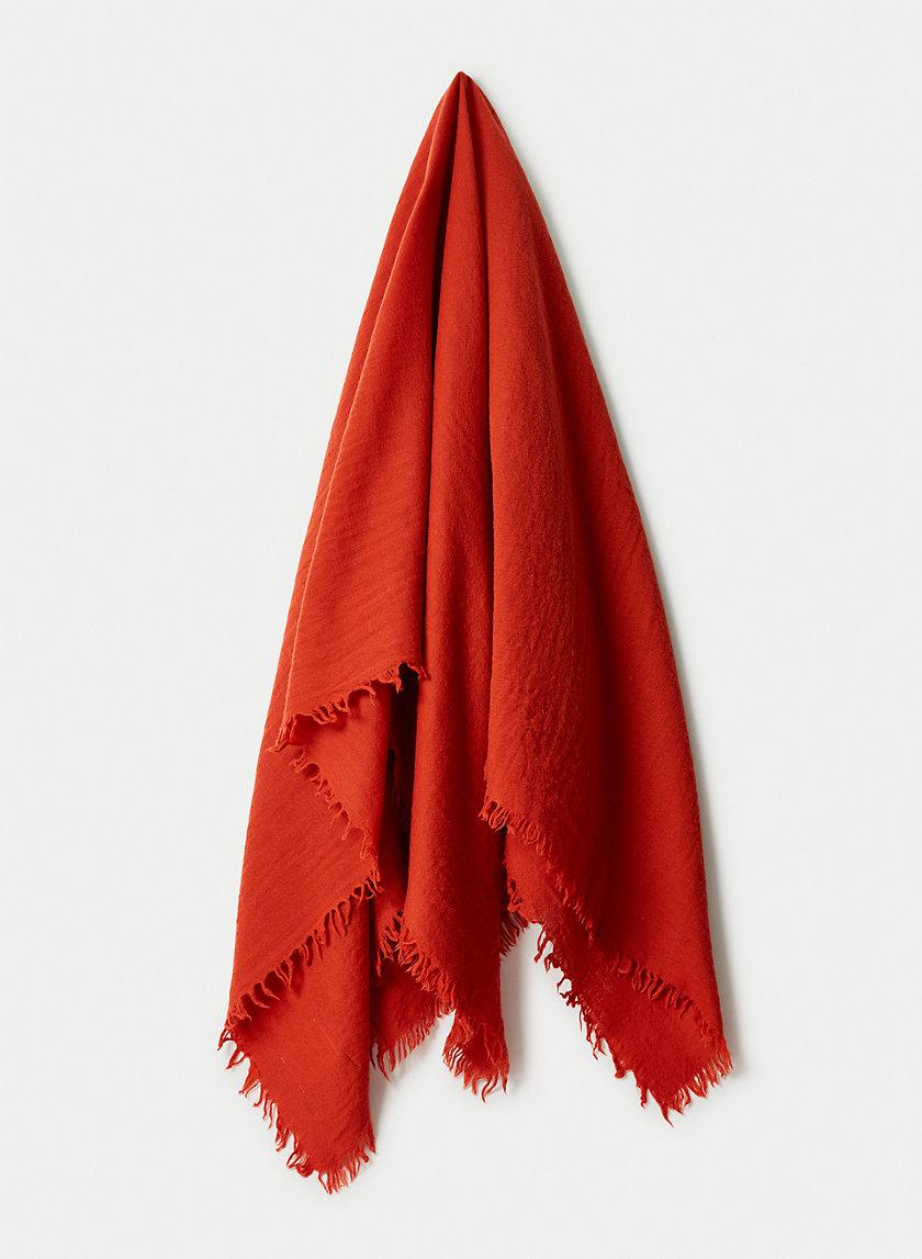SOLID WOOL BLANKET SCARF - Patterned, wool blanket scarf