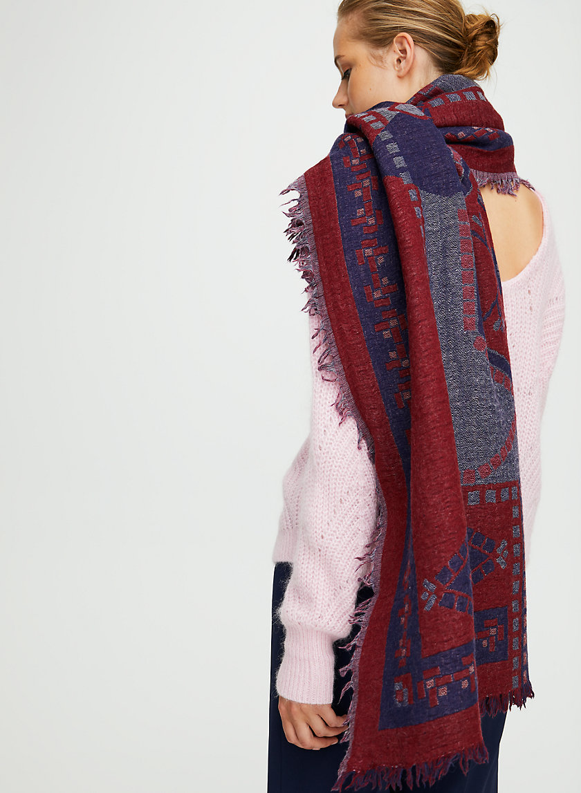CARPET BLANKET SCARF - Patterned, wool blanket scarf