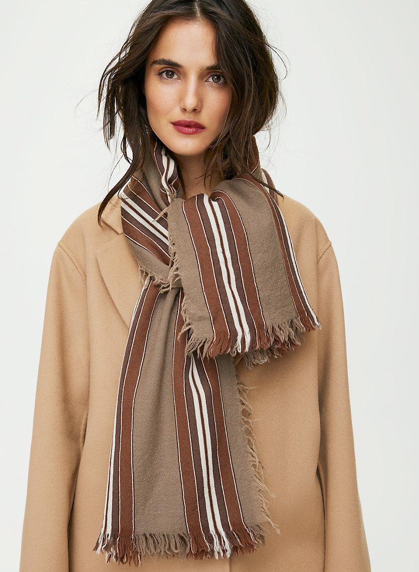 STRIPED BLANKET SCARF - Striped wool blanket scarf