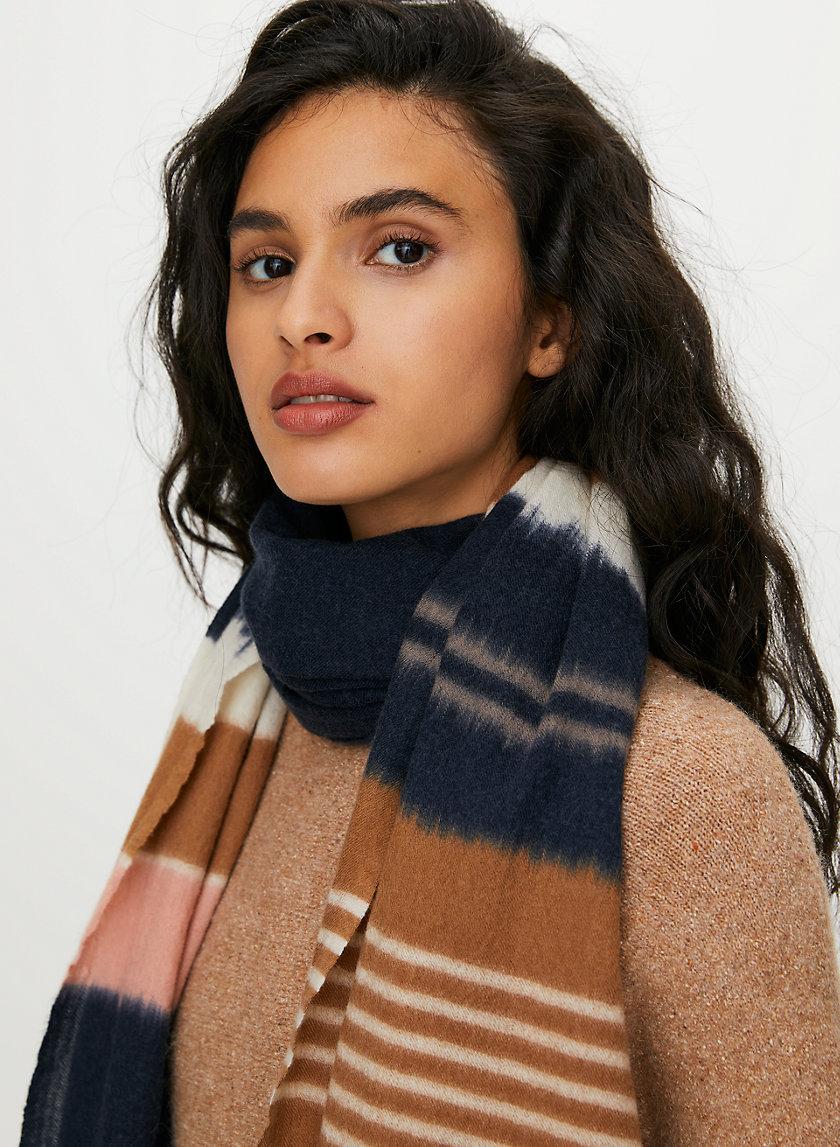 STRIPED WOOL CASHMERE SCARF - Striped cashmere scarf