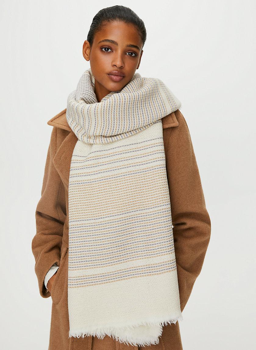 TEXTURED WOOL BLANKET SCARF - Jacquard wool-blend blanket scarf