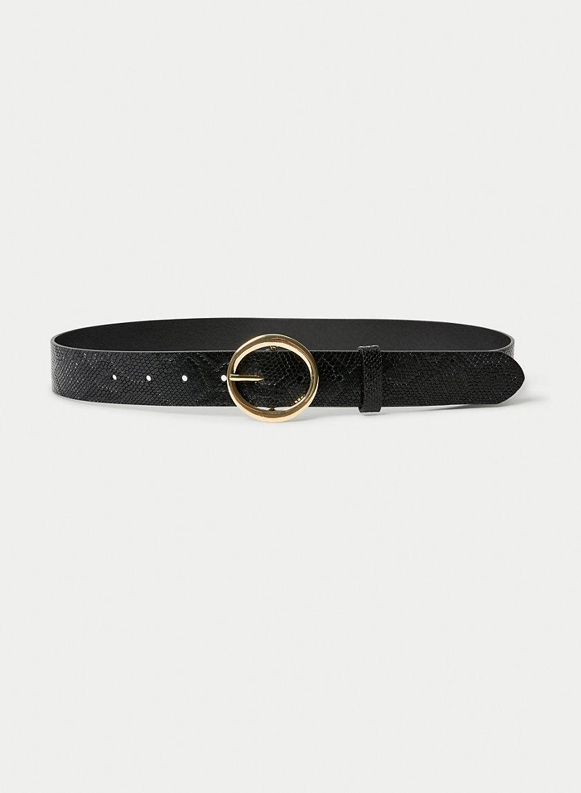CLASSIC RING BELT - Snake-print leather belt