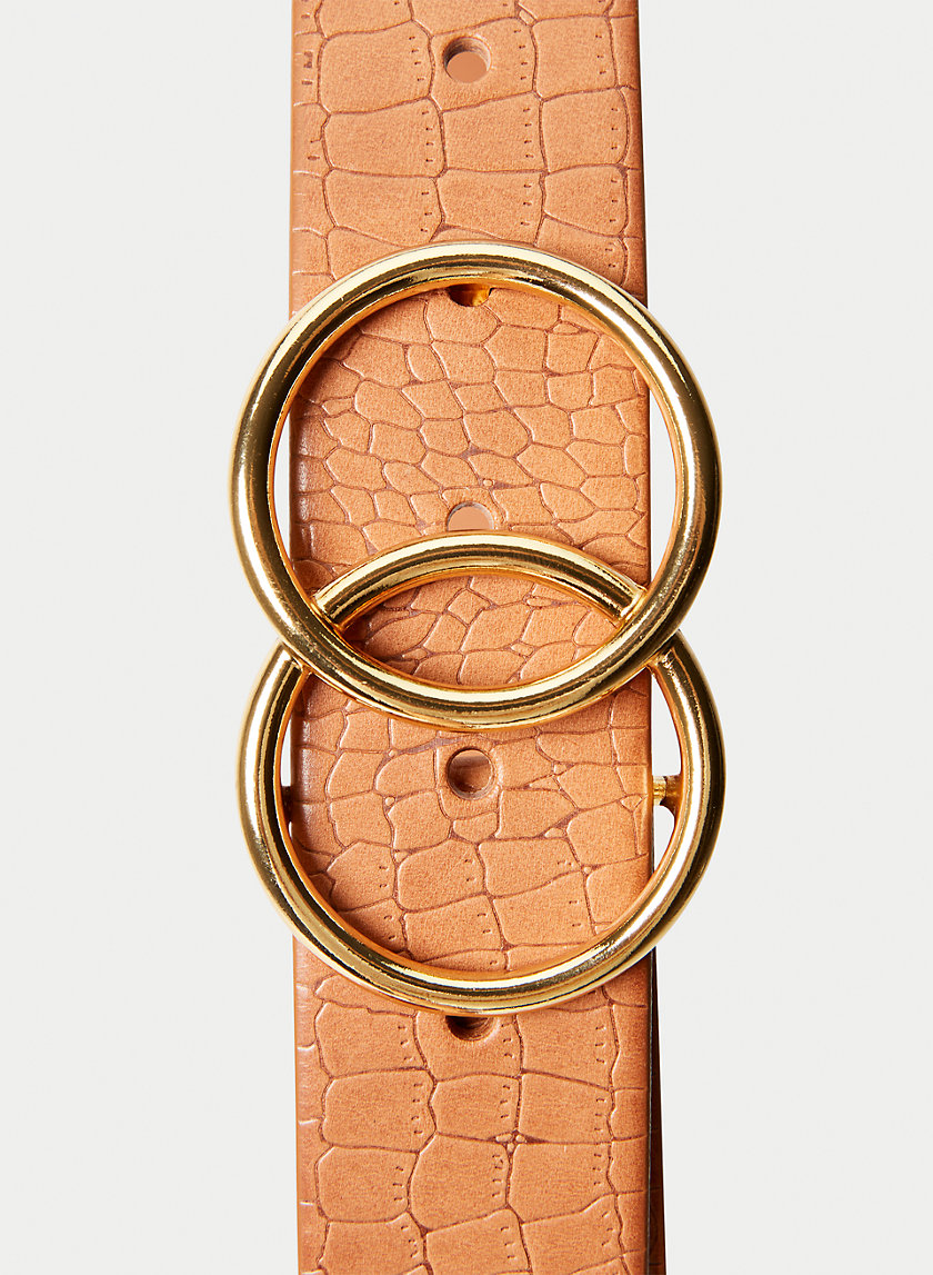 DOUBLE RING JEAN BELT - Leather crocodile belt