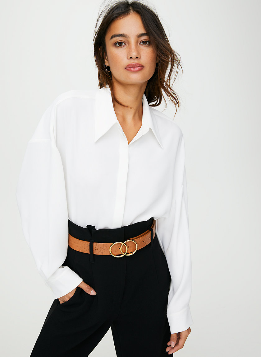 DOUBLE RING JEAN BELT - Leather crocodile belt