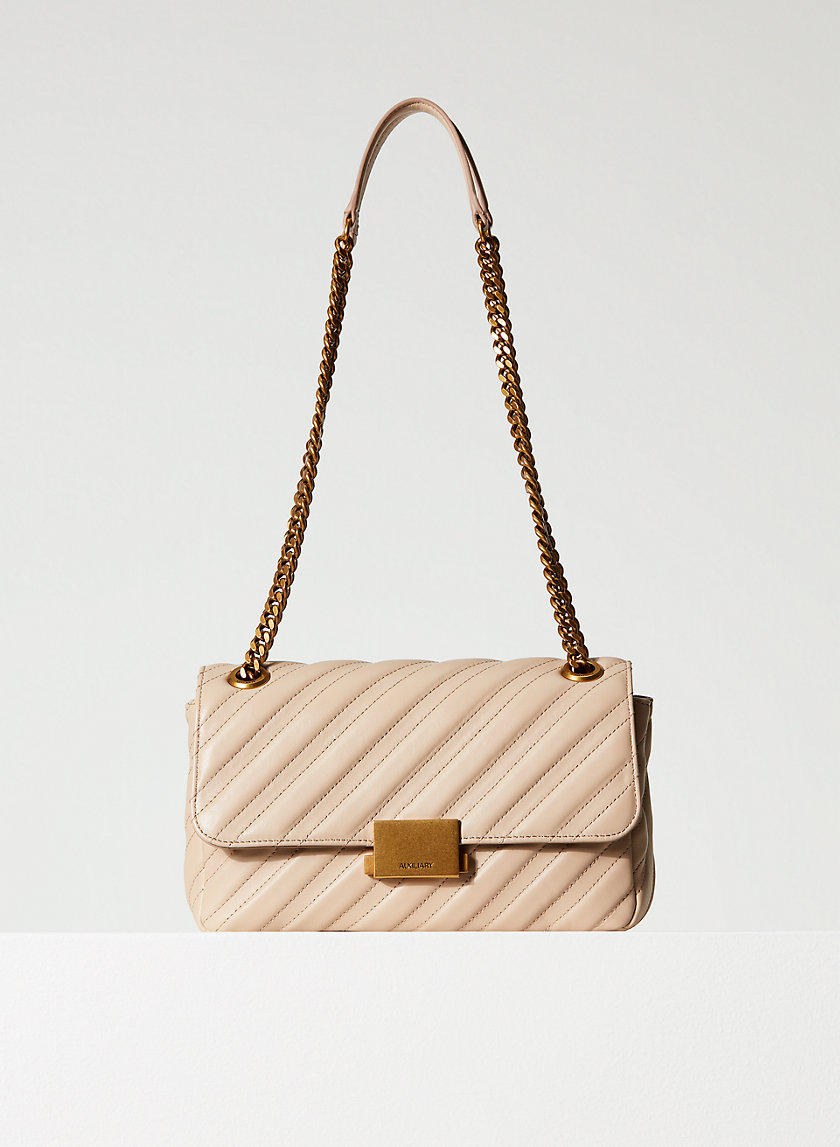 LEATHER FLAP BAG - Leather chain-strap bag