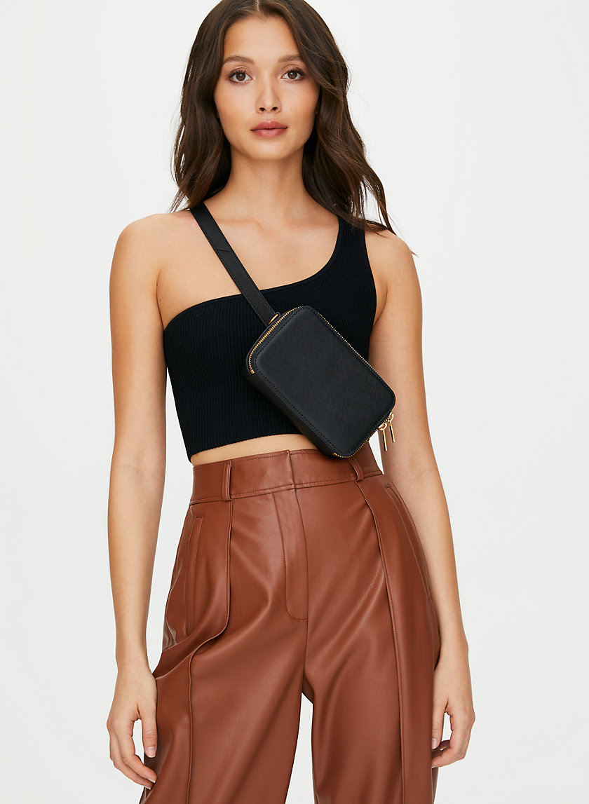CHAIN ZIP BELT BAG - Leather beltbag with chain