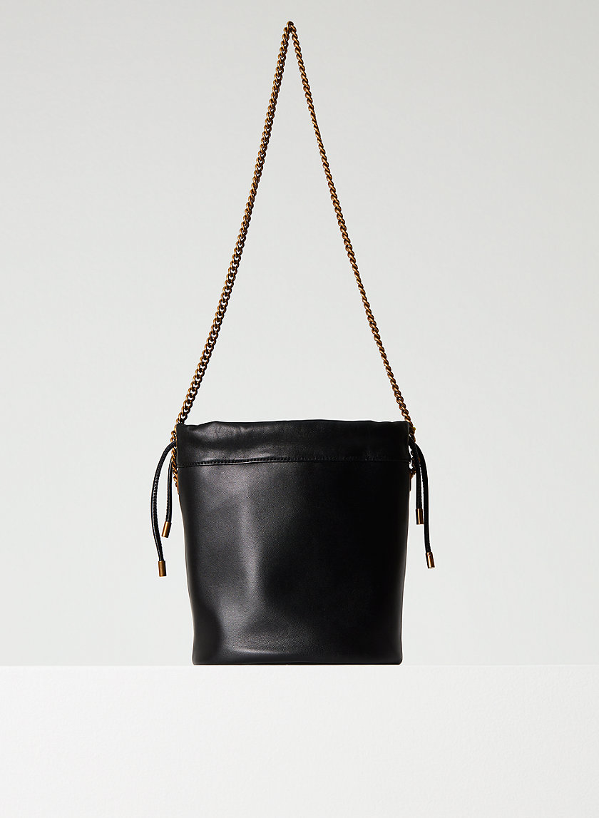 LEATHER BUCKET BAG - Drawstring leather bucket bag