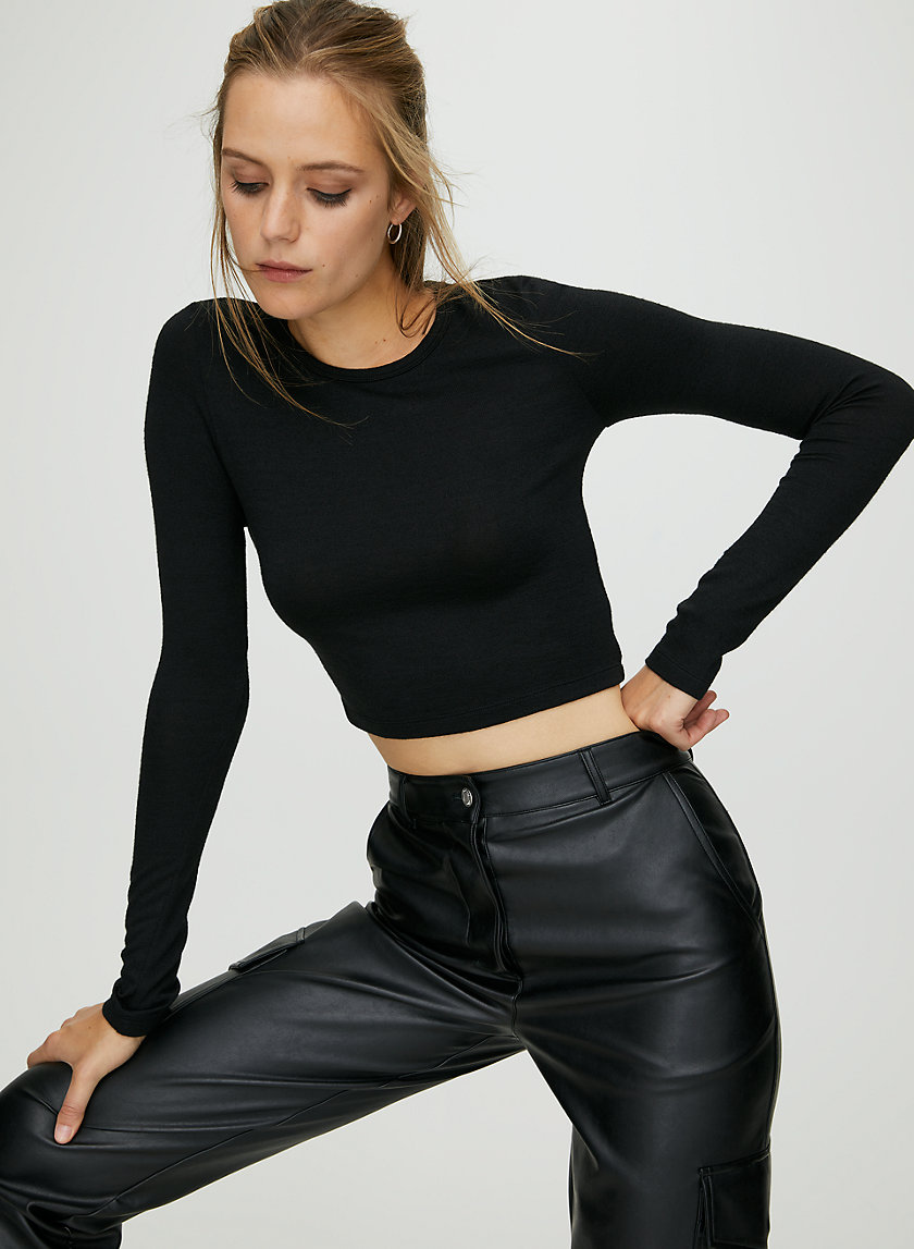GEORGIA T-SHIRT - Fitted cropped long sleeve