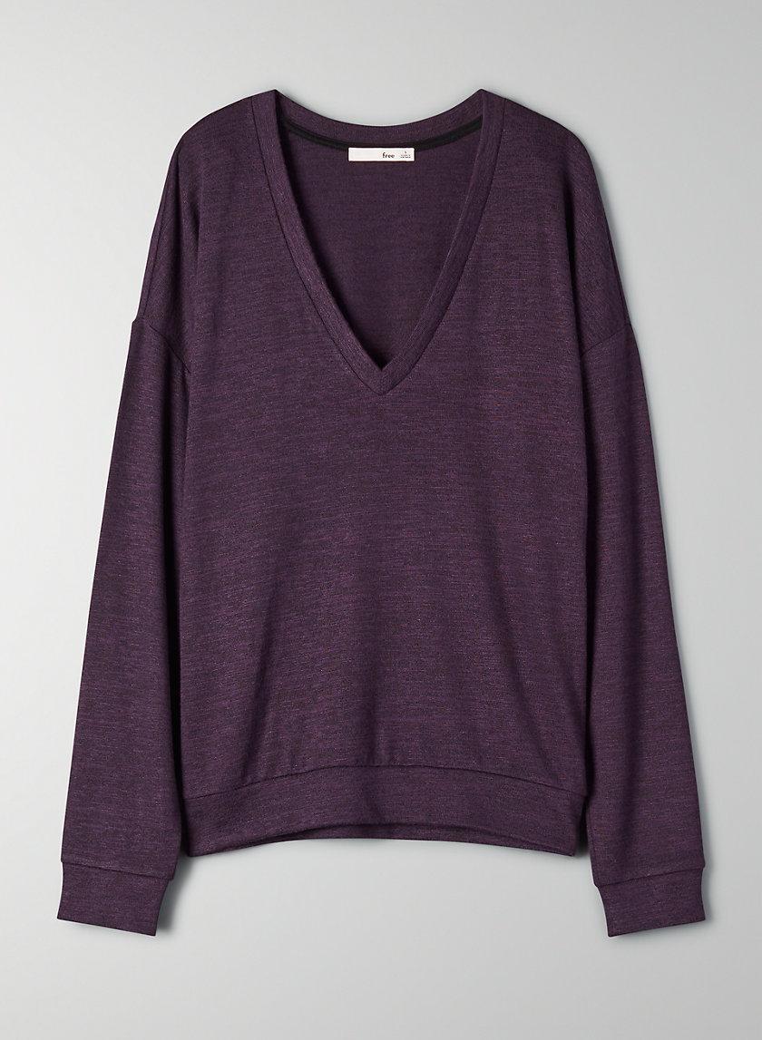 REMY LONGSLEEVE - Long-sleeve, V-neck t-shirt