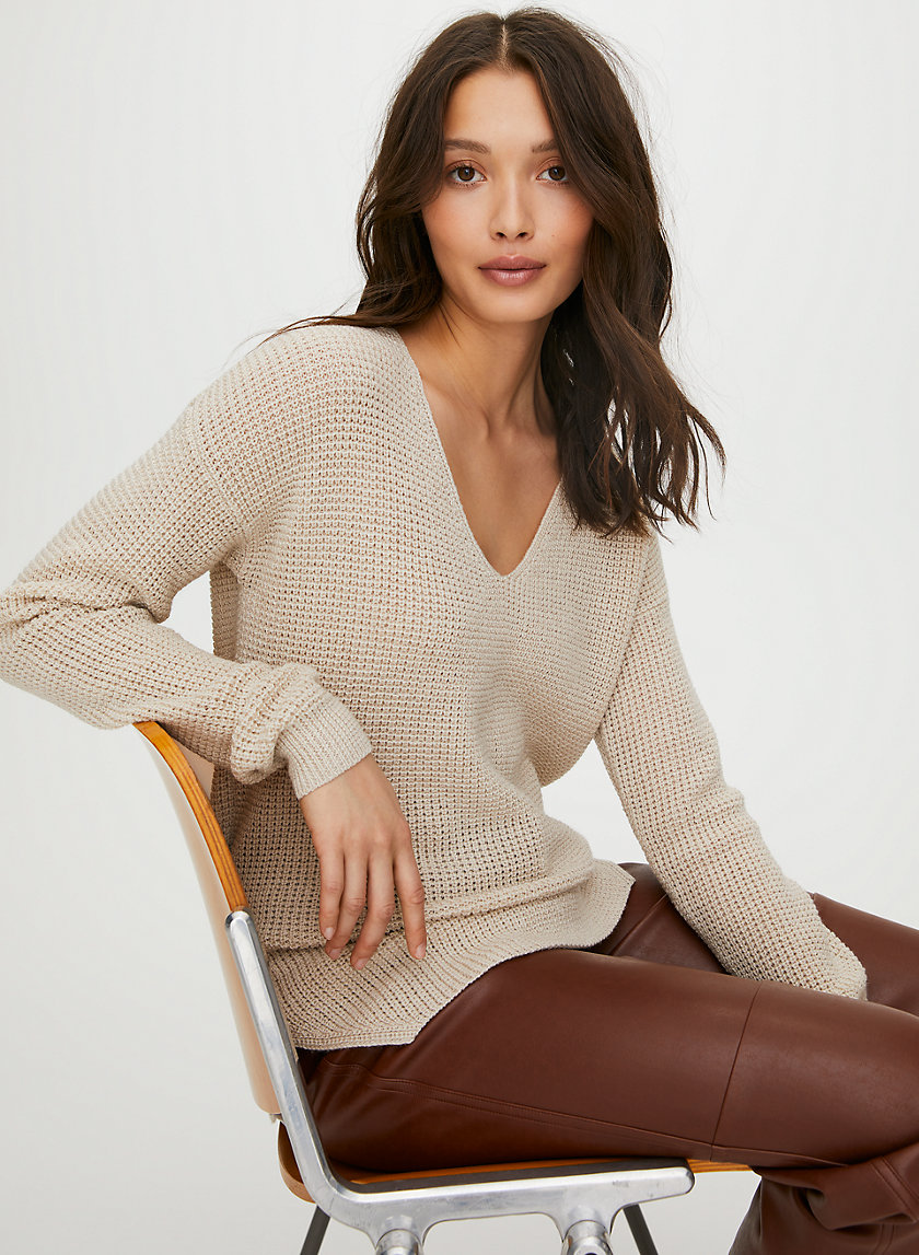 WOLTER SWEATER - Waffle-knit, V-neck sweater