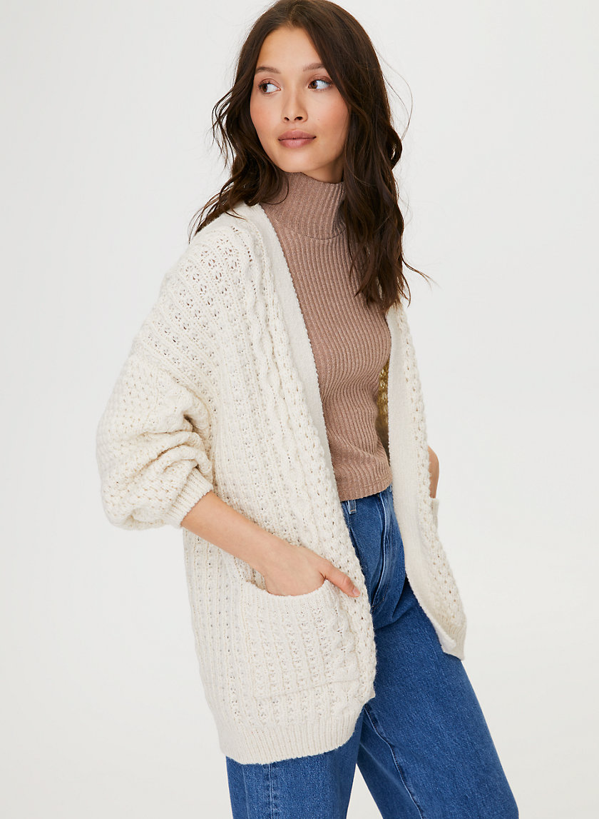 CABLE KNIT CARDIGAN - Lightweight cable-knit cardigan