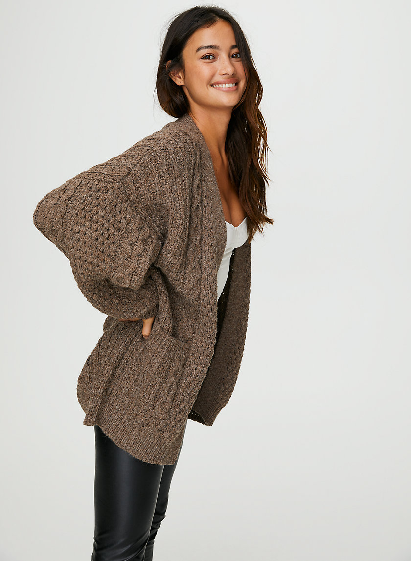 CABLE KNIT CARDIGAN - Oversized cable-knit cardigan