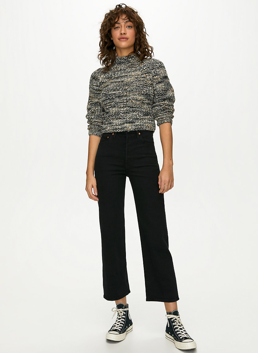 RETROGRADE MOCKNECK - Cropped, long-sleeve wool sweater