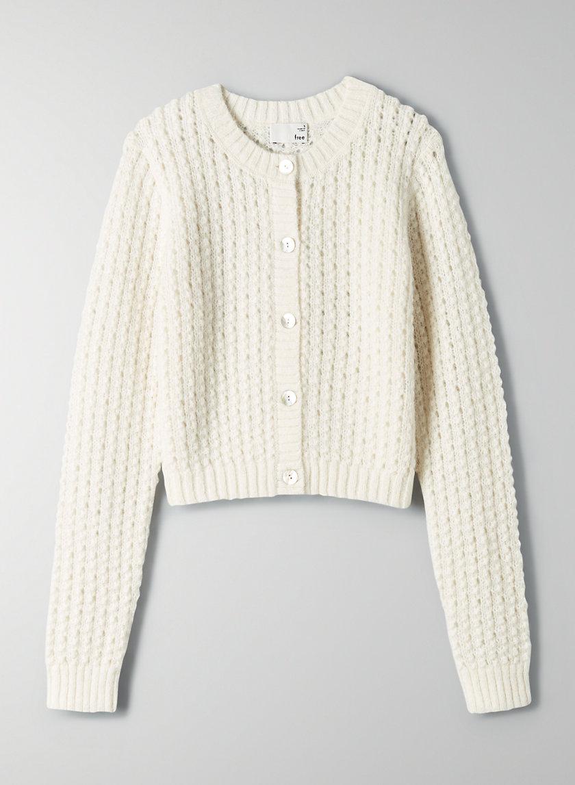 FORTUNE CARDIGAN - Cropped bubble-stitch cardigan