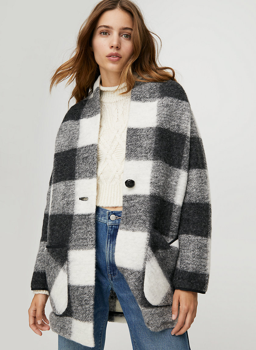OFF-DUTY JACKET - Plaid, wool-blend cocoon jacket