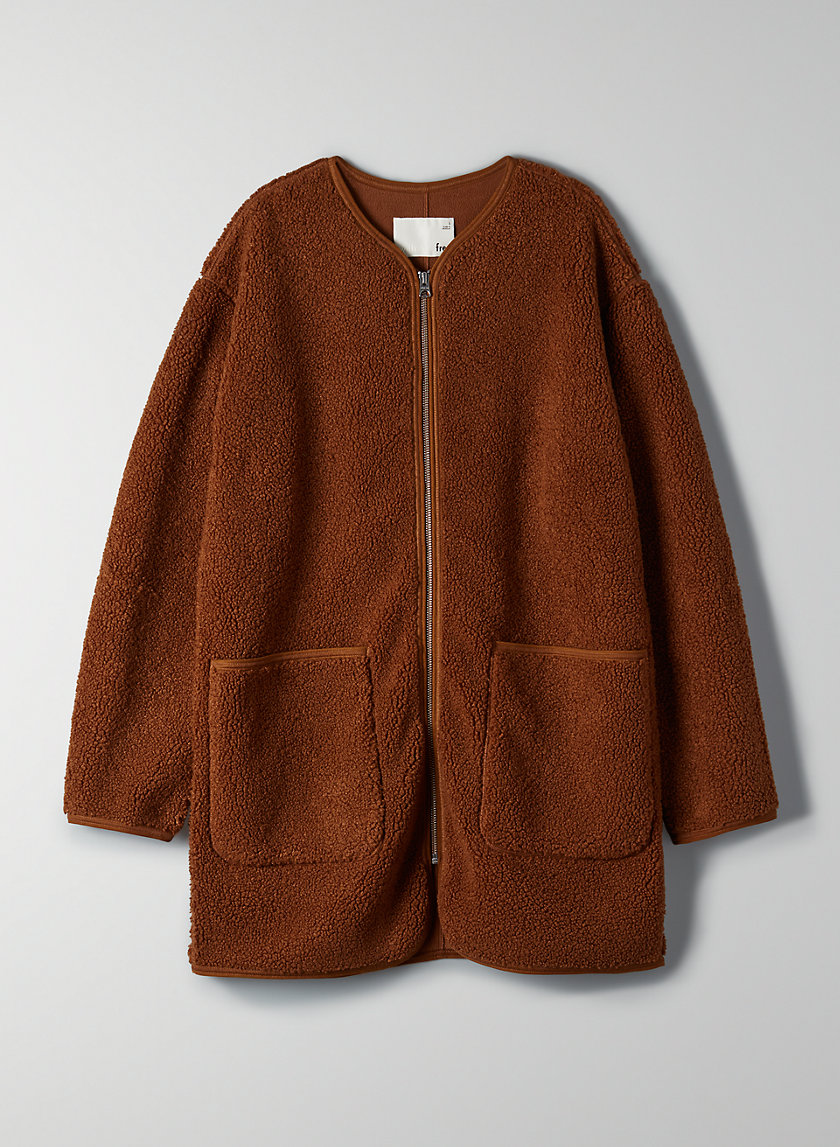 LONG SHERPA LINER JACKET - Sherpa sweater jacket