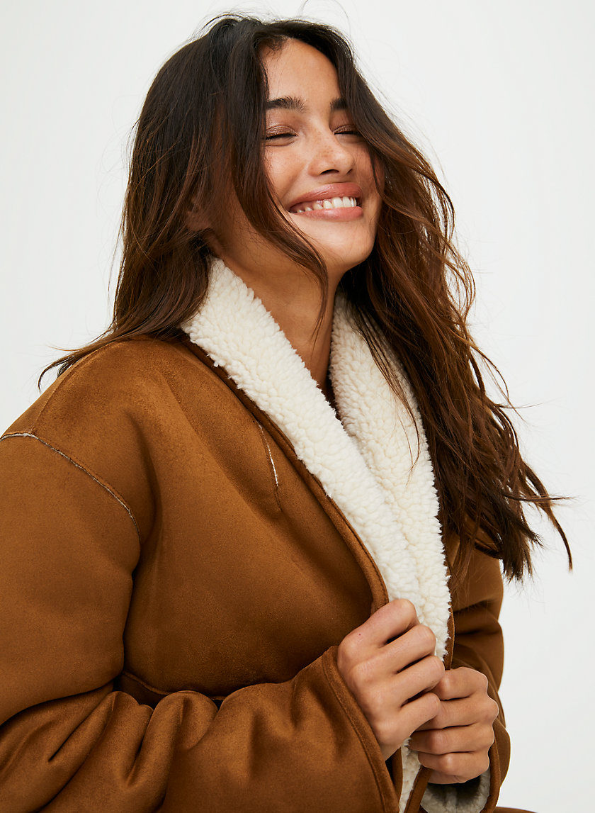 DEANNA SHERPA JACKET - Button-front faux shearling jacket