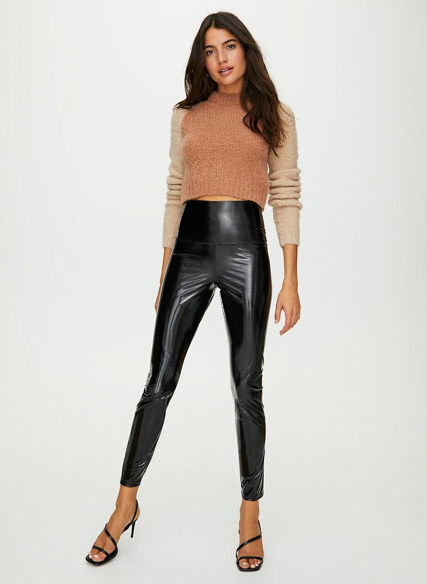 DARIA ANKLE PANT - Shiny high-rise leggings