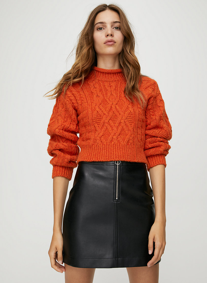 ROXANNE SKIRT - Faux leather, zip-up mini skirt