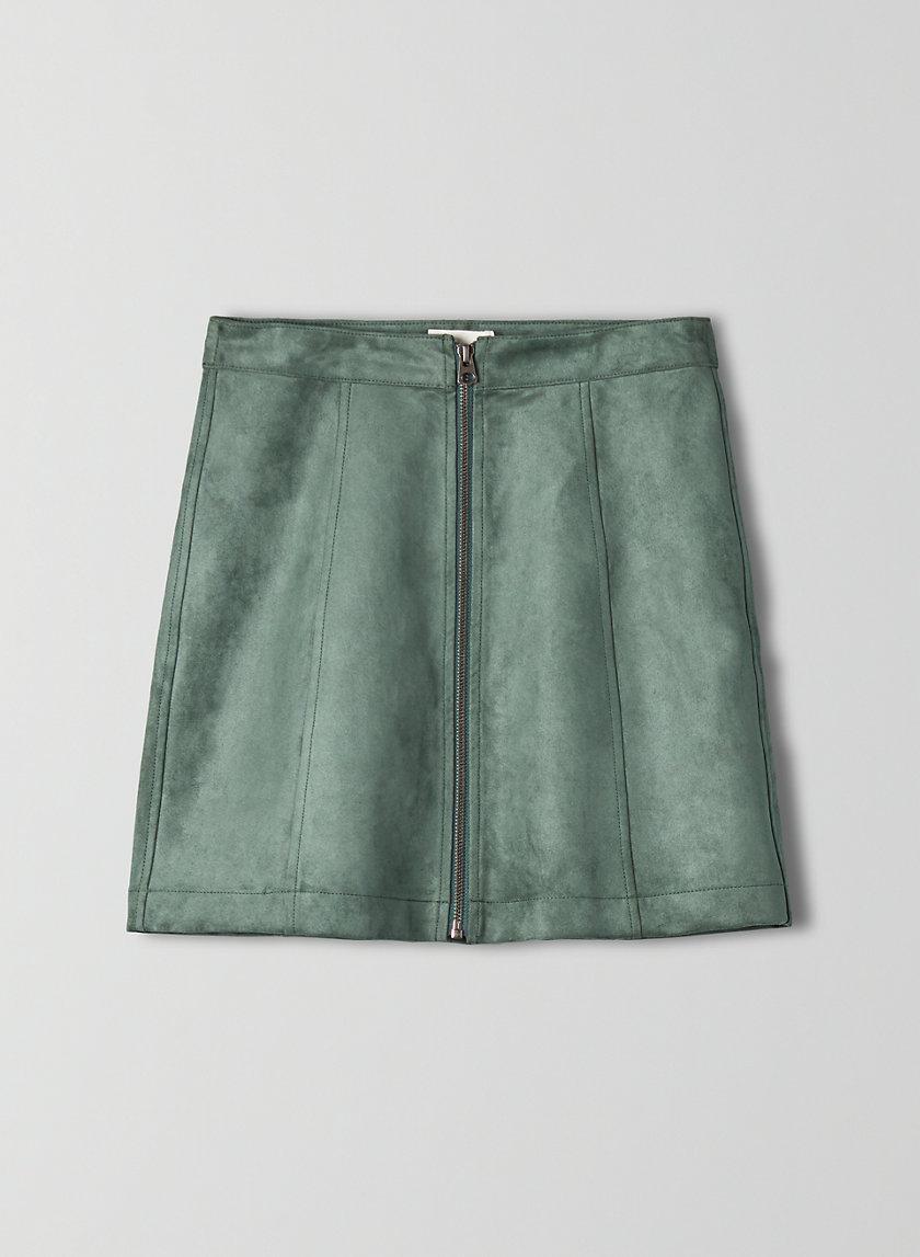 ZIP-UP MINI SKIRT - Faux suede, zip-up mini skirt