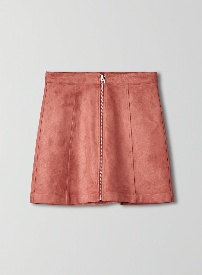 NEW ZIP-UP MINI SKIRT - Faux suede, zip-up mini skirt