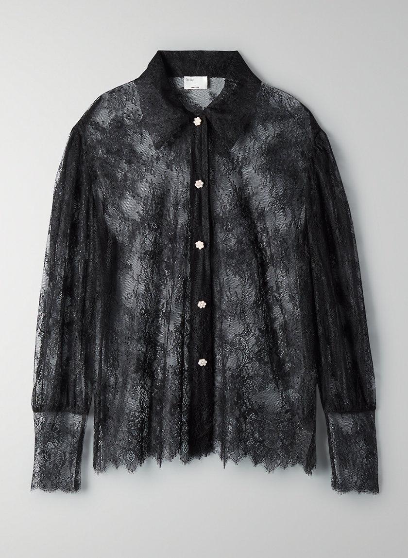 PLIÉ BLOUSE - Lace button-up blouse