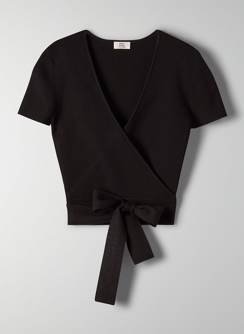 PRUNELLA KNIT TOP - Cropped, wrap knit top