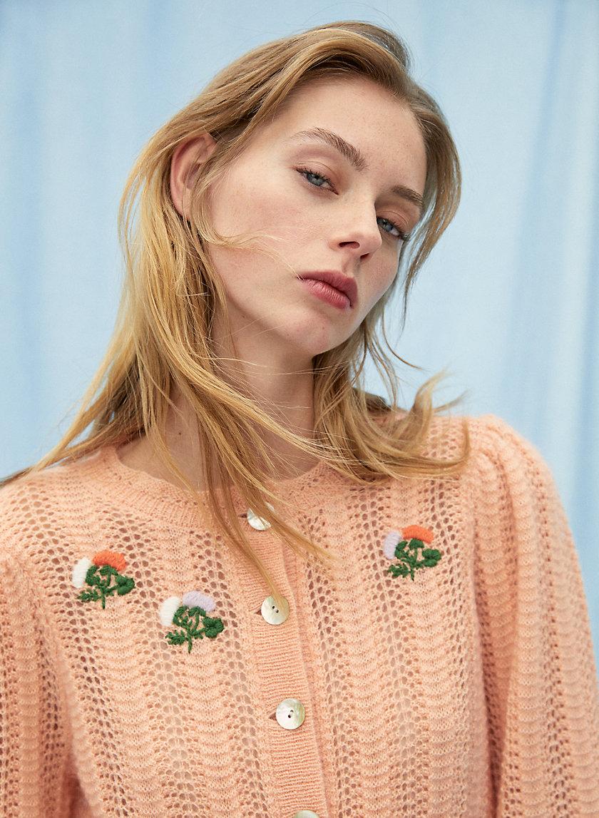 POLKA SWEATER - Puff-sleeve pointelle sweater