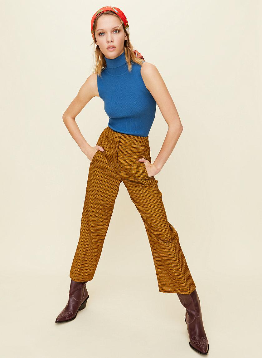 MALVA CHECK PANT - High-waisted check pants