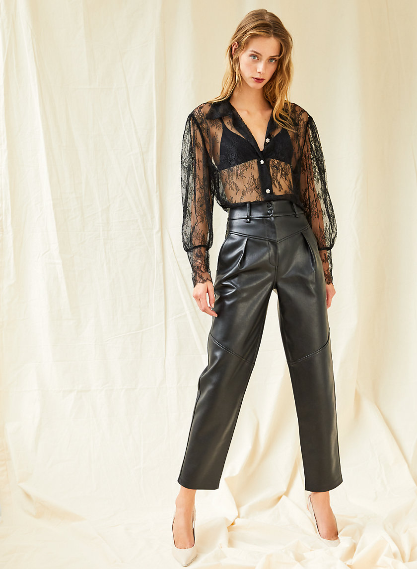MOONWALK PANT - Super high-rise faux leather pants