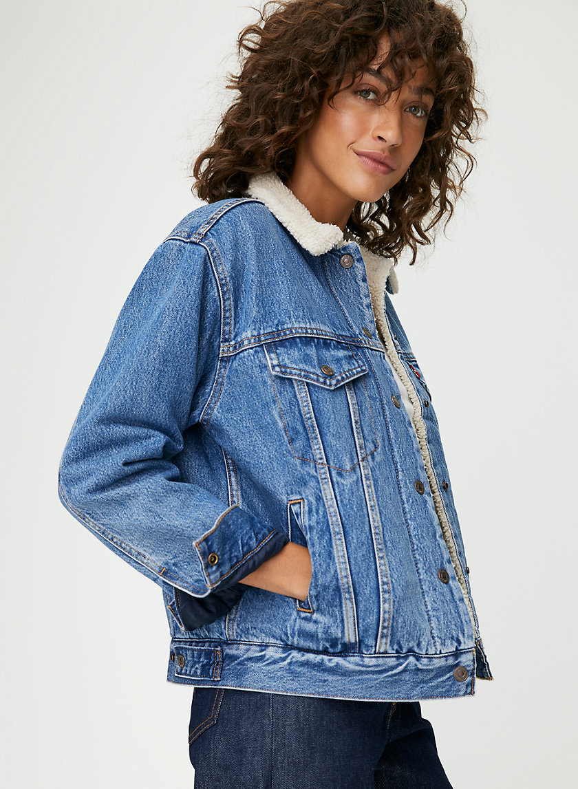 EX BF SHERPA - Relaxed, sherpa-lined denim jacket