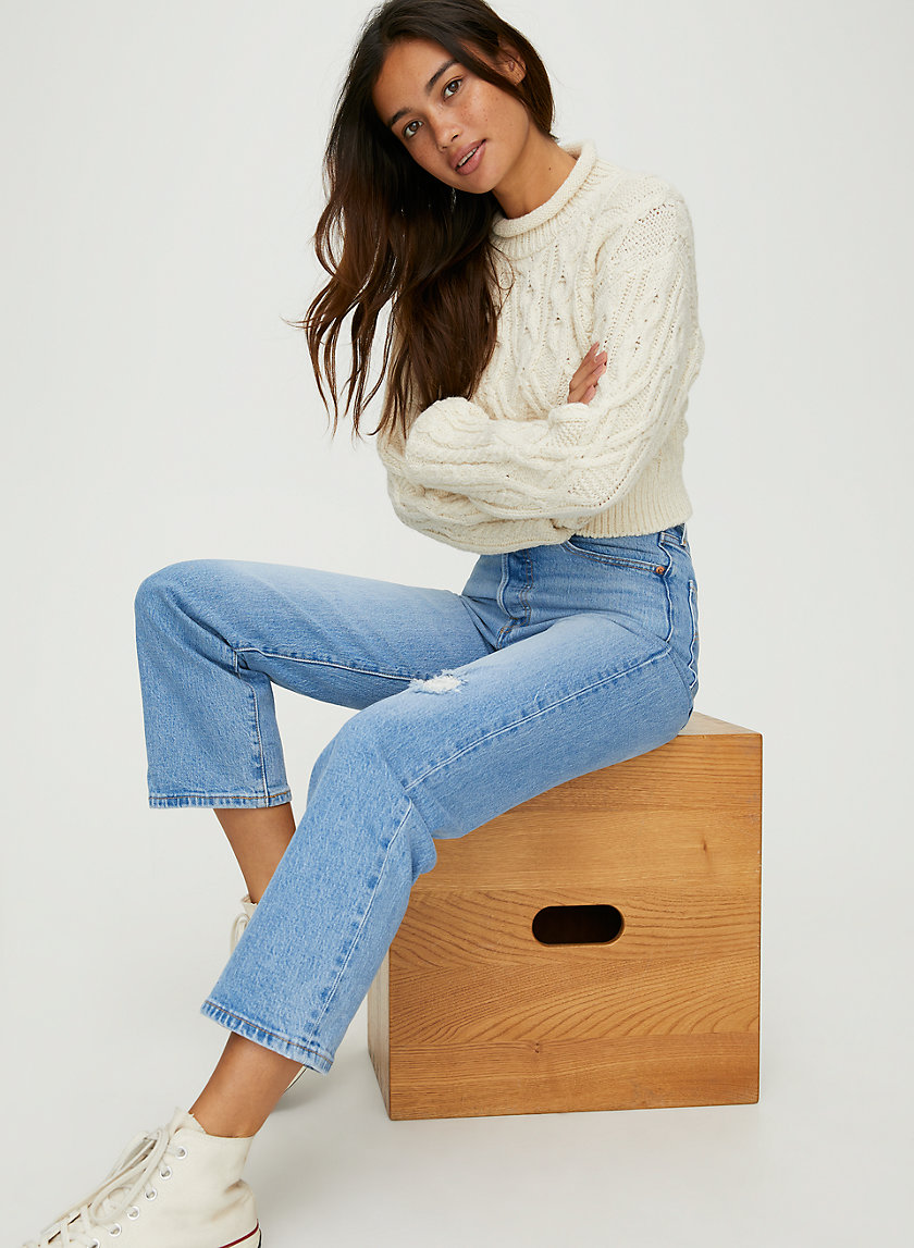 RIBCAGE STRAIGHT ANKLE - Super-high-rise jeans