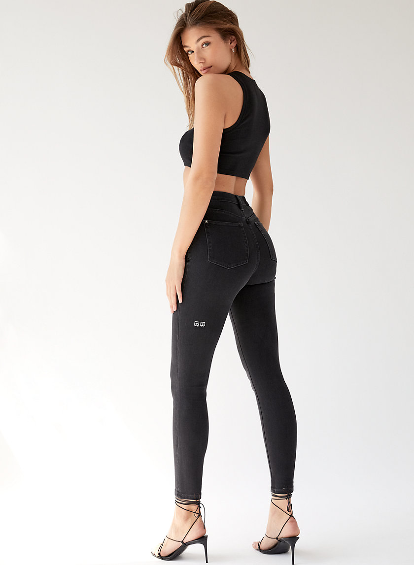 HI N WASTED NOIR FLASH - High-waisted skinny jean