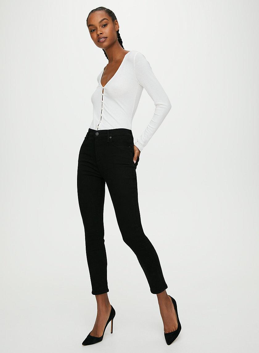 ROCKET CROP PLUSH BLACK - Cropped skinny jean