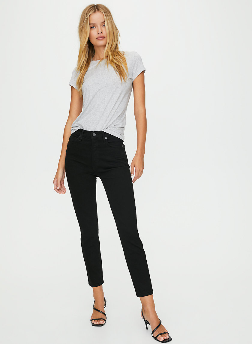 OLIVIA SUEDED BLACK - High-waisted, slim-fit jean