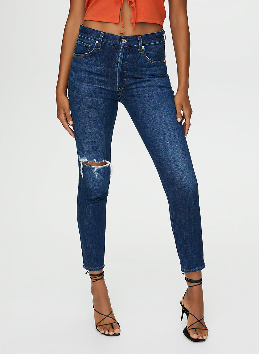 LIYA LOWE - High-waisted slim-leg jean