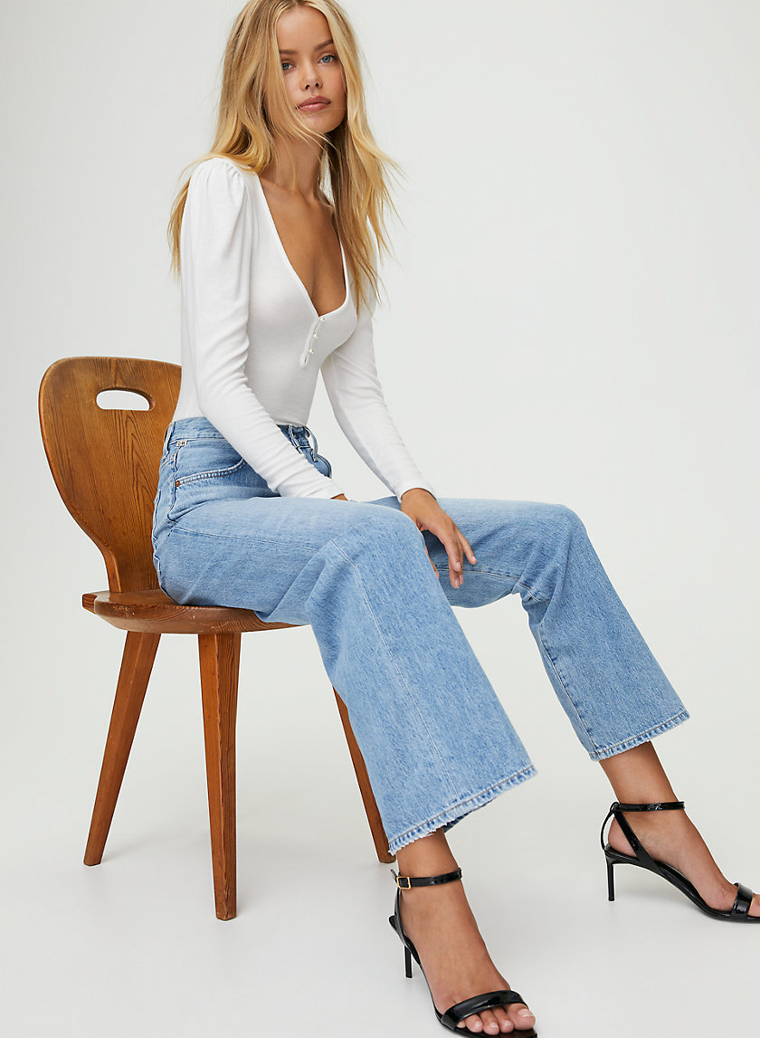 FLAVIE TOULAROSA - High-rise full-length trouser jean