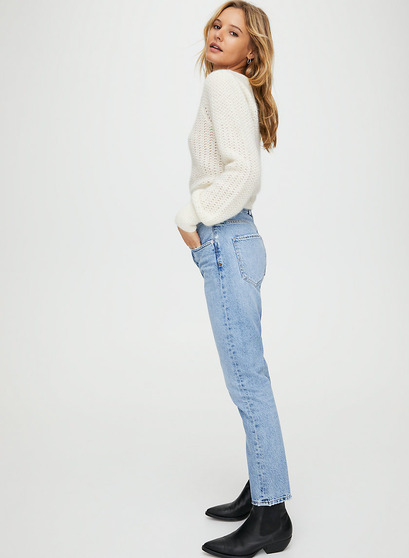 JAMIE BLUR - High-rise tapered jeans