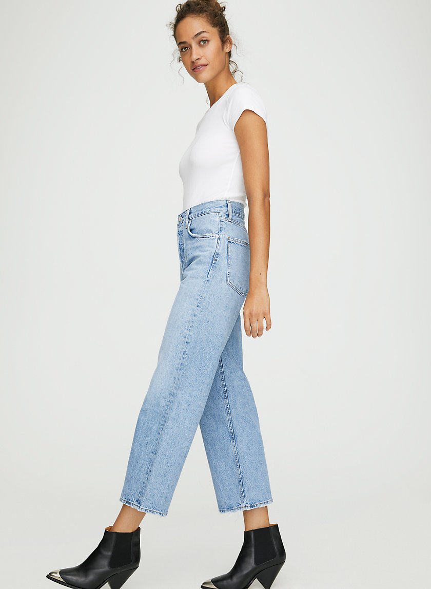 REN BLUR - High-rise, wide-leg jeans