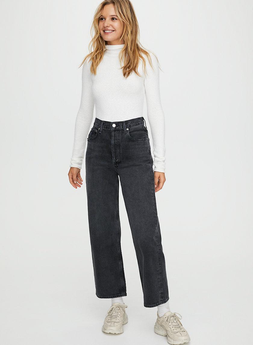REN SMOKE - High-rise, wide-leg jeans