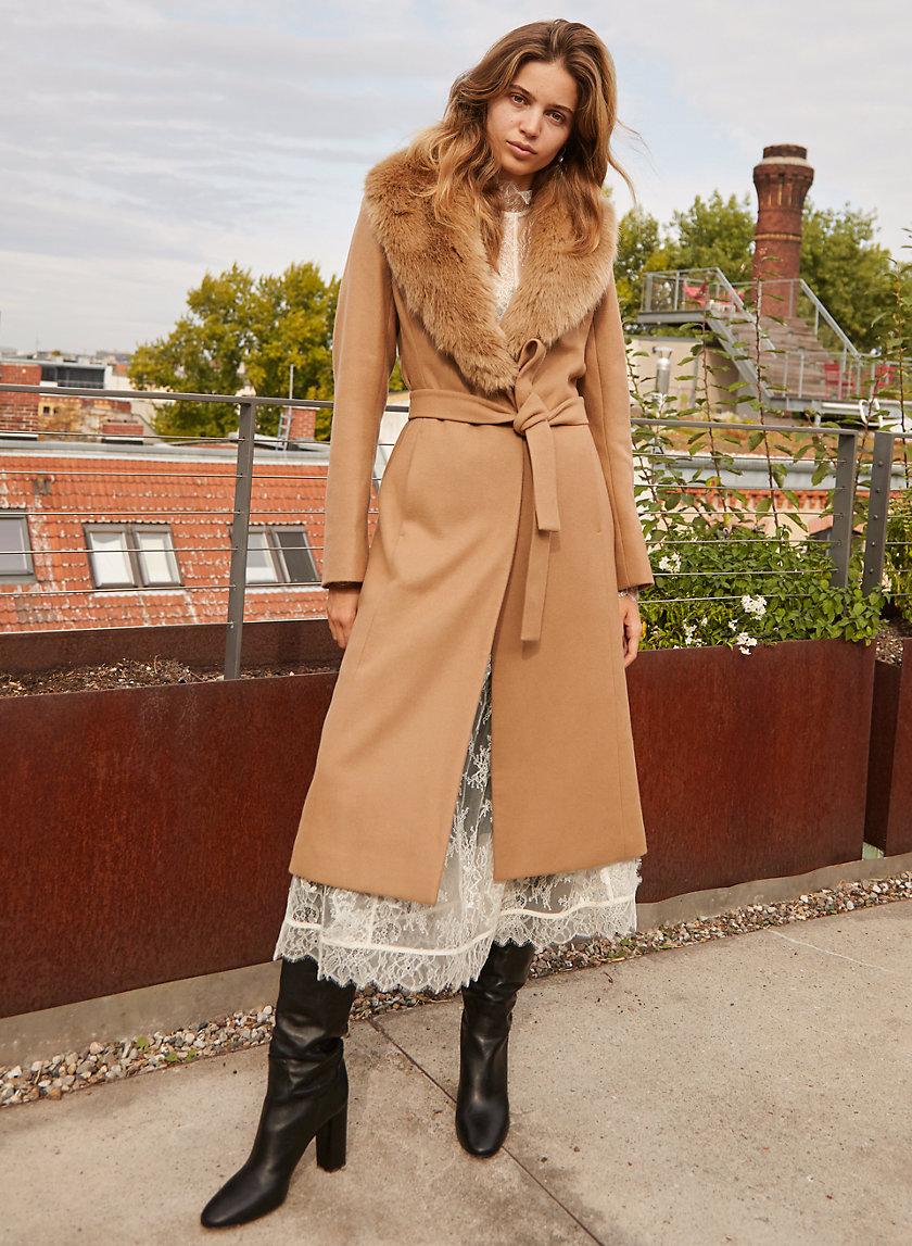 WALDORF COAT - Wool wrap coat with faux fur trim
