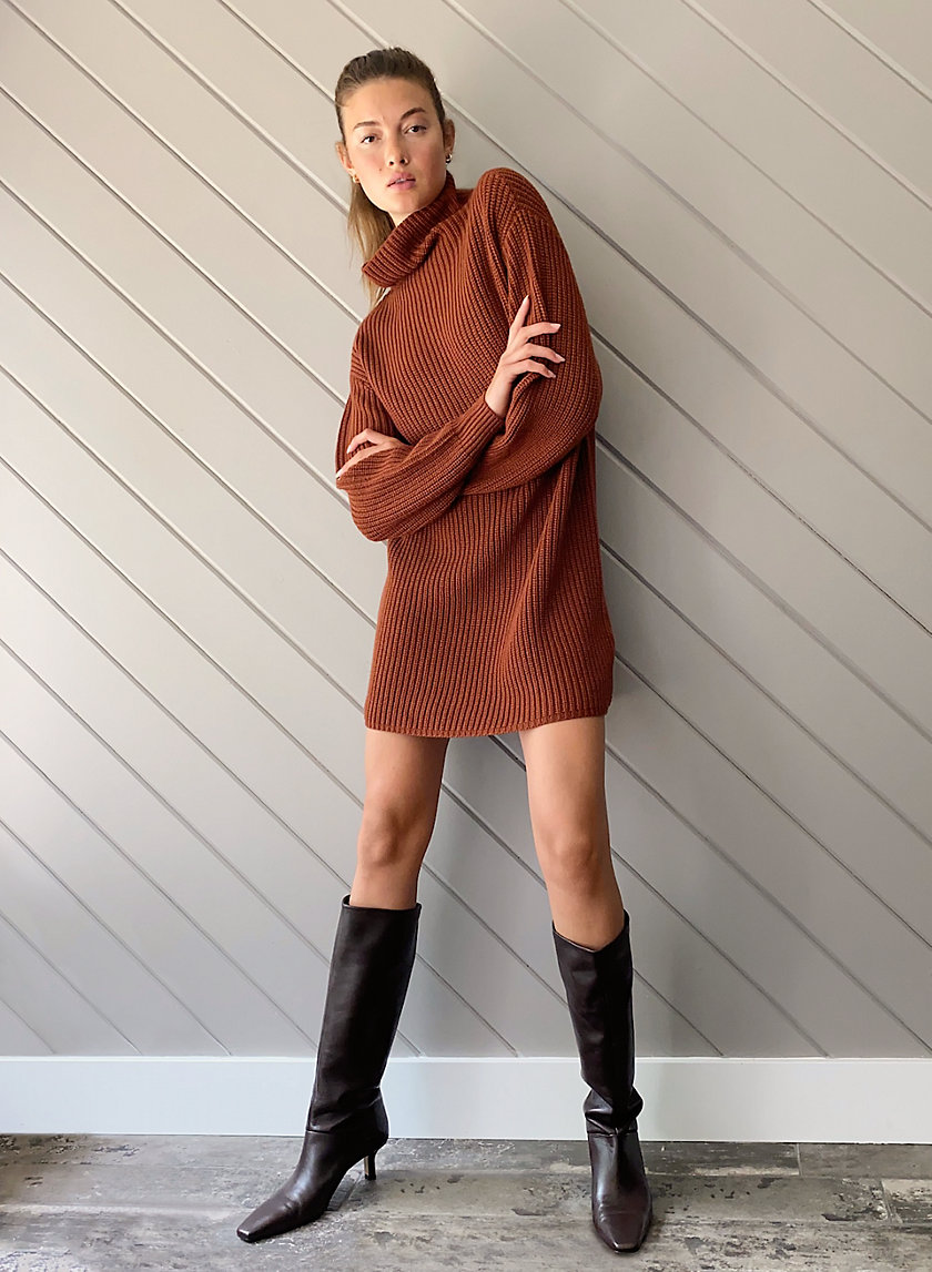 MONTPELLIER DRESS - Oversized mock-neck sweater dress