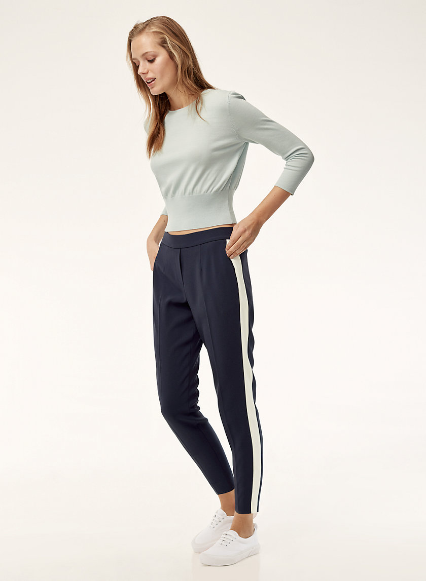 CONAN PANT TERADO - Cropped dress pant with side stripe