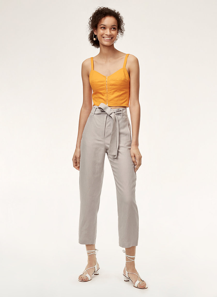 TIE-FRONT PANT - Cropped, high-waisted linen pant