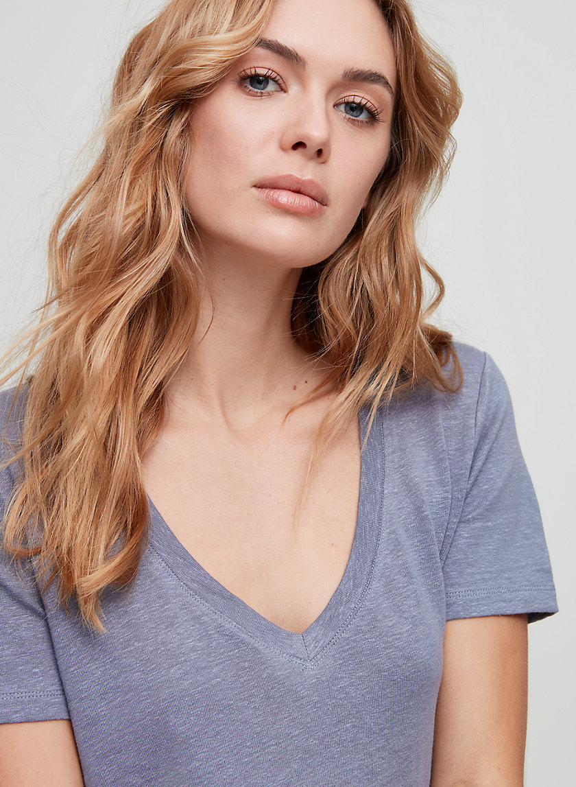 The Group by Babaton FOUNDATION LINEN V-NECK   Aritzia