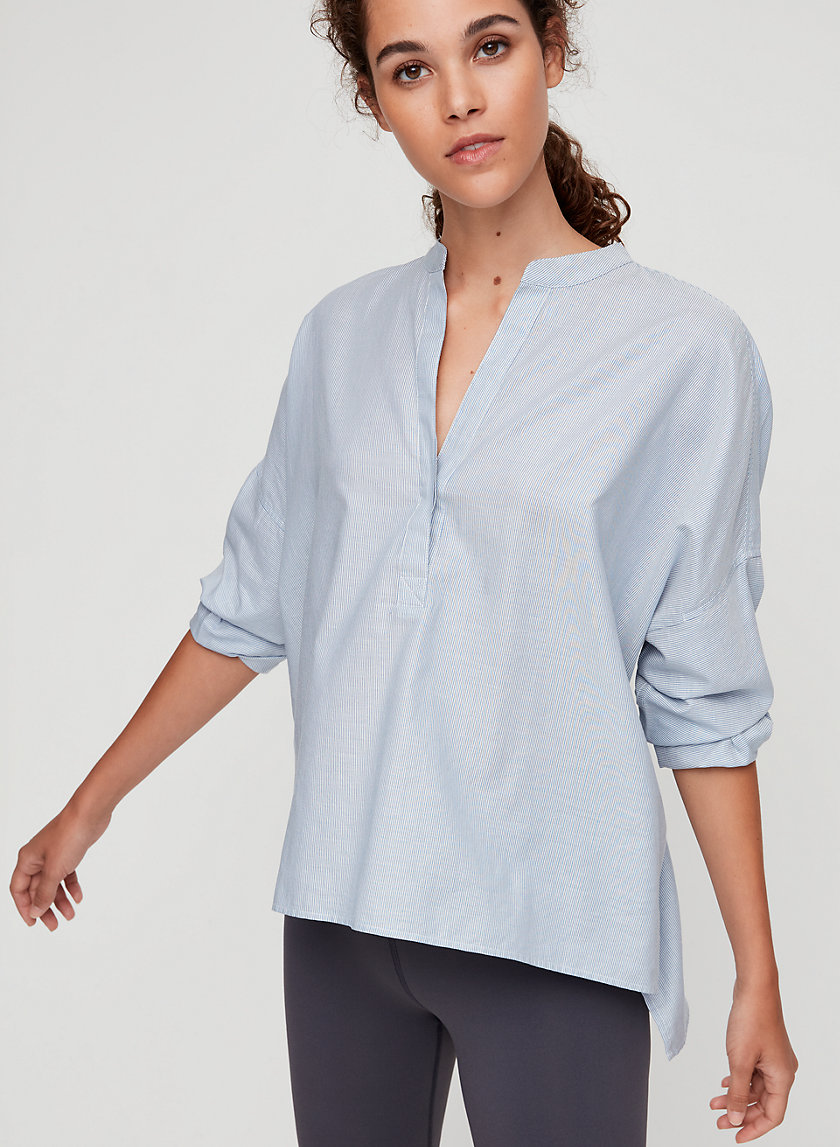 NELL BLOUSE - Lightweight, band collar blouse