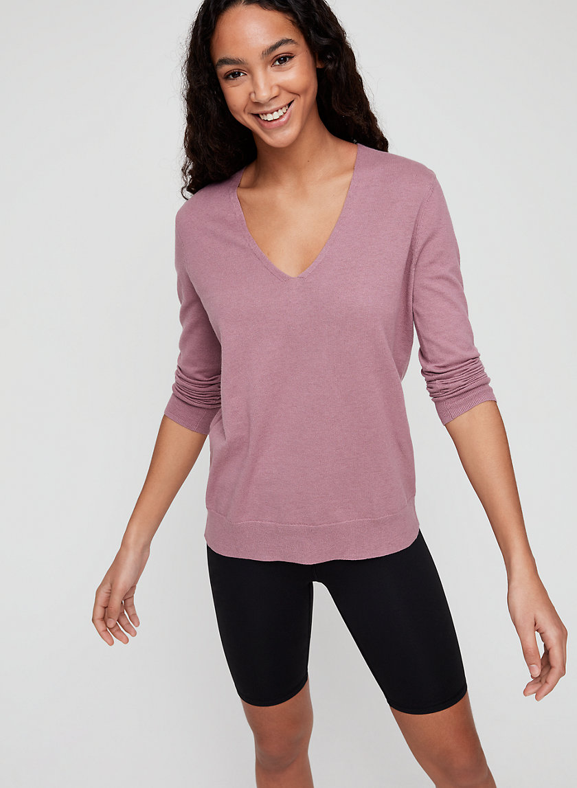 LUXE V-NECK SWEATER - V-neck cotton-blend sweater