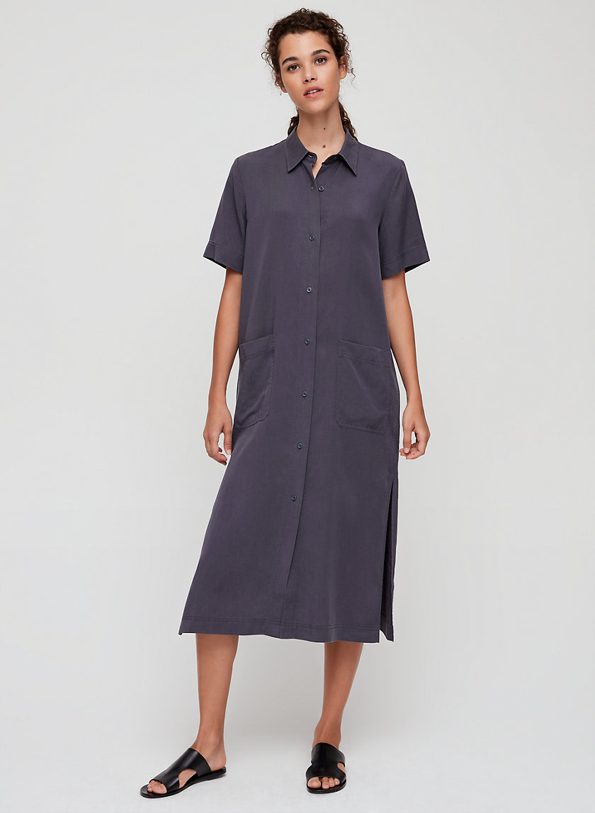 AKNER DRESS - Short sleeve, midi shirt dress