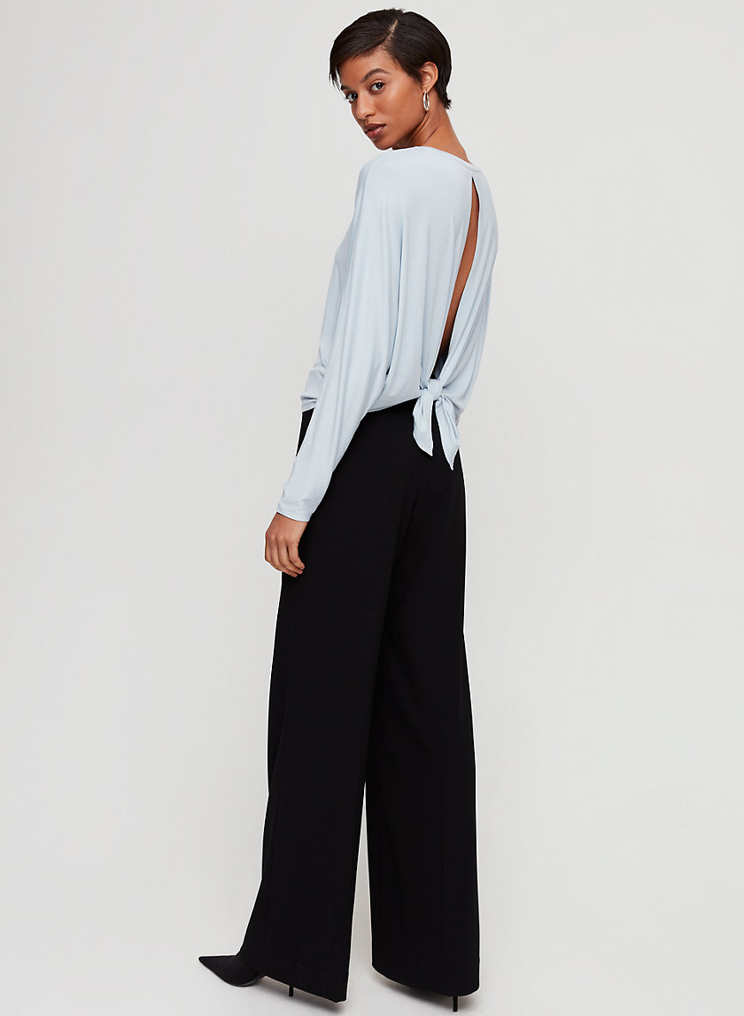 LONNY T-SHIRT - Cropped, long-sleeve tie-back t-shirt